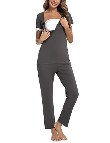 Aibrou Stillpyjama Damen Baumwolle Umstandspyjama Stillfunktion Pyjama Stillschlafanzug Kurzarm und Lang Hosen Zweiteiliger für Schwanger Dunkelgrau L