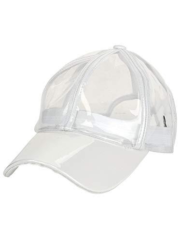 C.C Womens Transparent Waterproof PVC Rain Baseball Cap, Clear