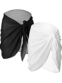 Chuangdi 2 Pieces Women Beach Wrap Sarong Cover Up Chiffon Swimsuit Wrap Skirts  Black and White