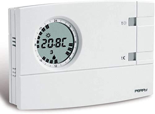 Eci Elettroforniture - Cronotermostato analógico digital semanal Perry 1CRCR309-S de pared color blanco 3 V Easy Display LCD 2 pulgadas Alimentación 2 pilas alcalinas 1,5 V AA