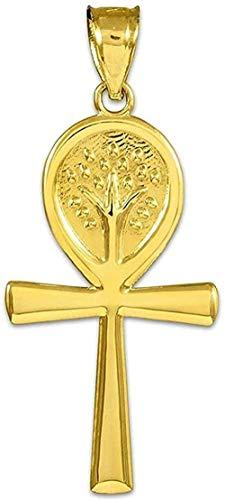 NC66 Colgante de árbol de la Vida con Cruz egipcia de Ankh de Oro Amarillo de 14 k