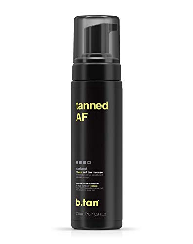 b.tan Self Tan Mousse - Tanned AF - Darkest Sunless Tanner for a 100% Natural, Fast, Ultra Dark Tan, 6.7 Fl Oz