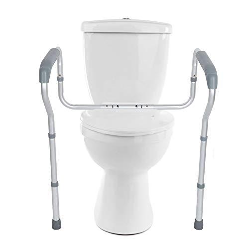 AYNEFY Toilettengestell WC-Aufstehhilfe Toilettenstütz Aluminium Toiletten Aufstehhilfe Sichere rutschfest WC-Stützhilfe mit Verstellbarer Höhe und Breite für Senioren Schwangere