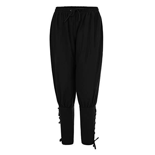 kdjsic Pantalones de Tobillo renacentista Medieval Vintage para Hombre, Disfraz de Pirata Vikingo, Disfraz de Cosplay con Cordones, Pantalones de navegador con Bandas cnicas