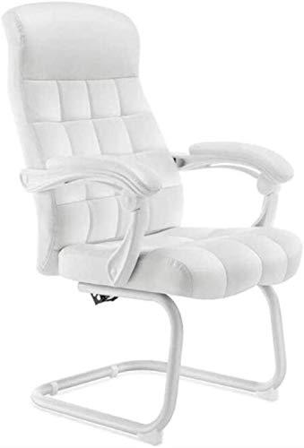 Gaming-Stuhl, ergonomischer Leder-Bürostuhl für Zuhause, vegan, gepolstert, Konferenzstuhl, stilvoller Sessel (Farbe: Weiß)