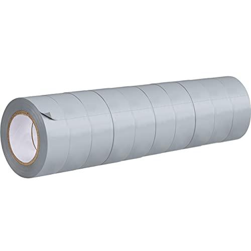 Isolierband Set GT 807, GRIP Eventbasics, 10 Rollen, Iso Tape grau, 19 mm x 10 m, VDE-geprüft, elastisches PVC Klebeband durchschlagfest bis 5 kV