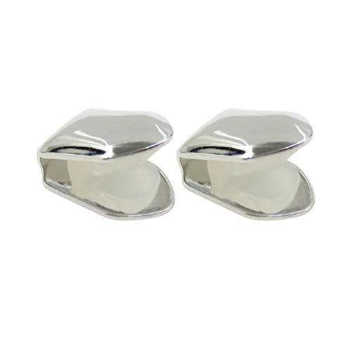 Healifty 2pcs vergoldet Silber Grill Hip Hop Top Zahn einzigen Grill Kappe für den Mund (Silber)