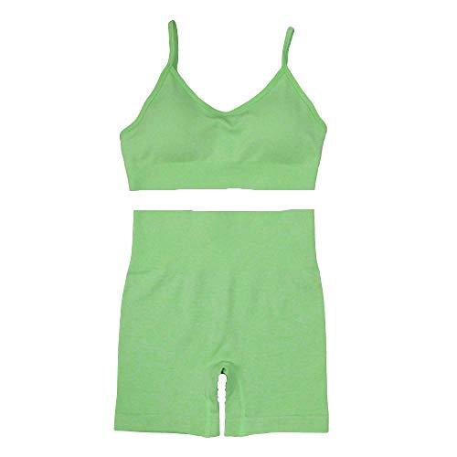 BDN Pantalon de Yoga para Mujer con Bolsillos,Conjunto de Chaleco y Pantalones Cortos de Yoga de Secado rápido, Conjunto de Sujetador de Fitness sin Costuras para Mujer-Verde_SG
