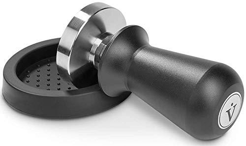 VIENESSO Profi Barista Tamper Set – Druckregulierend mit Anpressdruck von ca. 14kg durch integrierte Feder - Kaffee Stempel aus Edelstahl inkl. Matte für optimales tampern + E-Book! (schwarz, 51 mm)