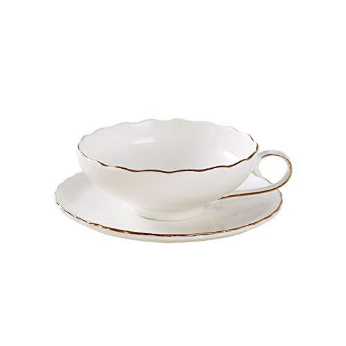 Conjunto de taza y platillo Diseño de flores Conjunto de café 200 ml Juego de té de oro Pintura de oro Regalo de negocios Cerámica Taza de café y platillo para el tiempo de té 49