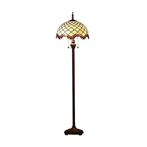Lámpara De Pie Tradicional Lámpara De Pie Clásica con Pantalla De Vidrio E Interruptor De Pie para Sala De Estar, Dormitorio, Oficina, Lámpara De Pie (Color: Marrón)