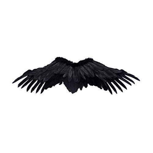 Amosfun Alas De ángel Negro Disfraz De Halloween Plumas Golondrinas Alas Cosplay Diablo Halloween Prop Despedidas de Soltera para Niños Mujeres