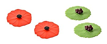 Charles Viancin Silicone Poppy and Grape Drink Covers Set of 4
