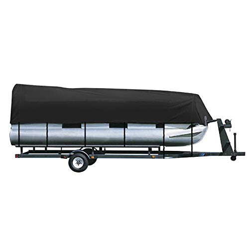 iCOVER Trailerable Pontoon Boat Cover, Fits 21 to 24ft Long & Beam Width up to 102in Pontoon Boat with Storage Bag, Heavy-Duty Waterproof Stormproof, Fade-Resistant Polyester, Black