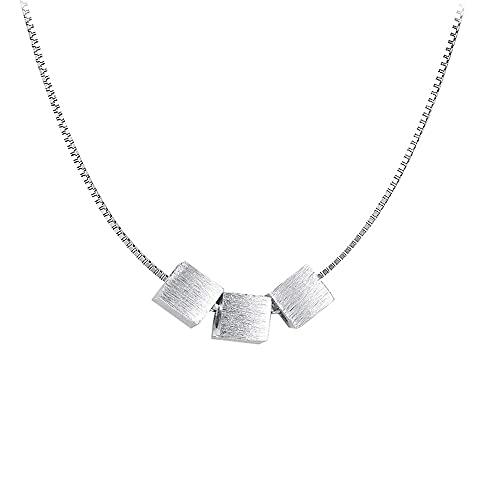 Collar Cuadrado De Plata De Ley 925 para Mujer, Colgante De Mujer, Joyería De Moda para Navidad Y San Valentín