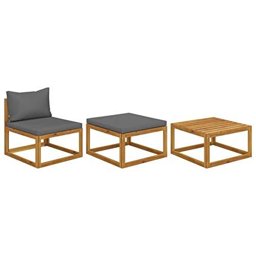 Tidyard Muebles de Jardín 3 pzas Cojines Sofás para Patio Exterior Sofá y Mesa de Centro Gris Oscuro Madera Maciza de Acacia
