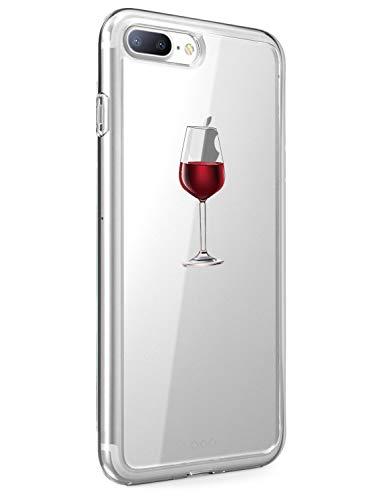 Caler Funda iPhone 7 Plus iPhone 8 Plus Case, Suave TPU Gel Silicona Ultra-Delgado Ligera Anti-rasguños Dibujos Protección Cuentos de Hadas Carcasa (Copa de Vino Tinto)