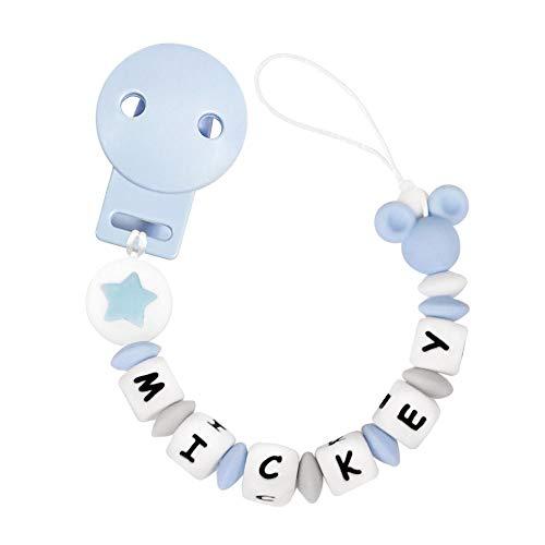 RUBY - Chupetero Personalizado para Bebe con Nombre Bola Silicona Antibacteriana con Pinza de Plástico (Azul Pastel)
