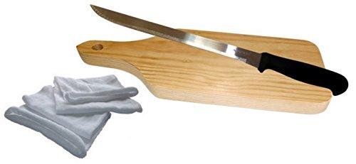 Planche à découper en bois avec manche, son couteau et son sac à jambon