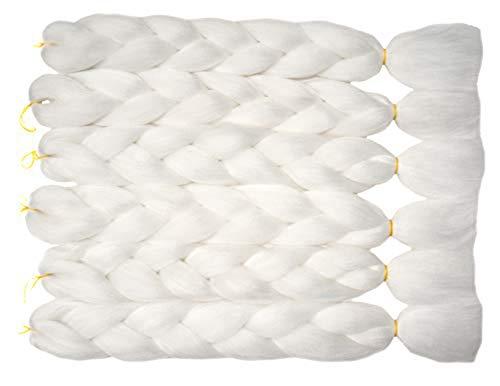 Lot de 5 extensions de cheveux synthétiques de 61 cm Blanc #