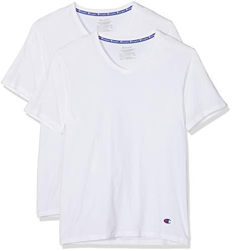 Champion Herren Sport Top Champion T-Shirt V-Neck X2 (2er Pack), Weiß (Blanc 0Rl), Small
