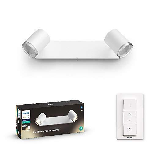 Philips Hue White Ambiance Adore Faretti Smart, 2 Punti Luce, Lampadine GU10 Incluse, per Bagno, con Bluetooth, Luce da Calda a Fredda, Telecomando Dimmer Switch Incluso