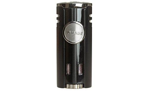 Xikar High Performance HP4 Diamond Quad Flame Cigar Lighter, in Attractive Gift Box, in-line Fuel Adjustment Wheel, Oversized Double EZ-View Fuel Windows, Matte Black