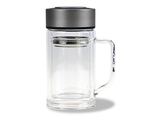 Teebereiter mit Henkel / 300 ml / 100% dicht/Tee-Glas doppelwandig/Deckel & Teesieb aus Edelstahl/Trinkflasche/Reisebecher to go/Thermobecher/Teebecher/Kaffebecher von CALUTEA
