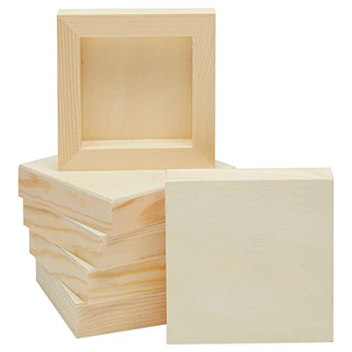 Natural Unfinished Wooden Paint Panel Boards for DIY Crafts (4x4 in, 6 Pack)
