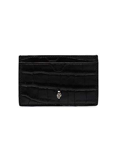 Alexander McQueen Luxury Fashion Herren 550855DZT0Y1000 Schwarz Leder Kreditkartenetui | Jahreszeit Permanent