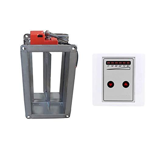 Compuerta motorizada 220v 5 posiciones compuerta regulacion aire rectangular para valvula conducto rejilla vmc conducto aire acondicionado (200 x 200 x 210mm)
