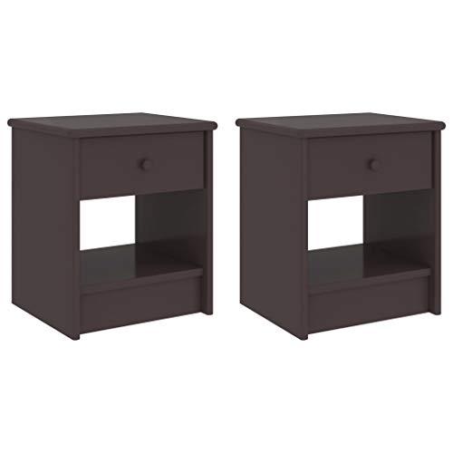 Wakects Juego de 2 mesillas de noche con cajón y compartimento abierto, 35 x 30 x 40 cm, mesa auxiliar con asa, madera de pino maciza, color marrón oscuro