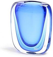 YourMurano Jarrón de cristal de Murano, azul, moderno, original, hecho a mano, jarrón de lujo, esférica, bajo, decorativo, 100% marca de Origen Certificado