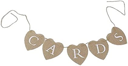 Pixnor CARDS Heart Shape Hessian Bunting Banner Rustic Party Decoration