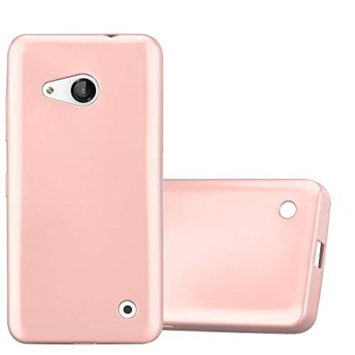 Cadorabo Custodia per Nokia Lumia 550 in ORO ROSA METALLICO - Morbida Cover Protettiva Sottile di Silicone TPU con Bordo Protezione - Ultra Slim Case Antiurto Gel Back Bumper Guscio