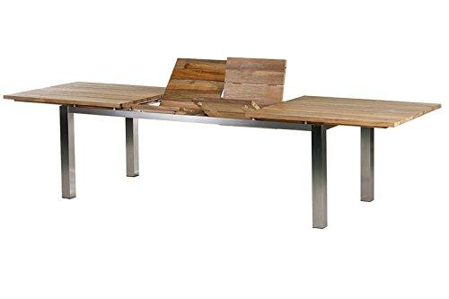 Diamond Garden Uittrektafel Levanto van hoogwaardig roestvrij staal, rechthoekig tafelblad van teakhout met brede lamellen, 220/320 x 100 x 76,5 cm, Tuintafel Dinnentafel voor 10 personen, weerbestendig