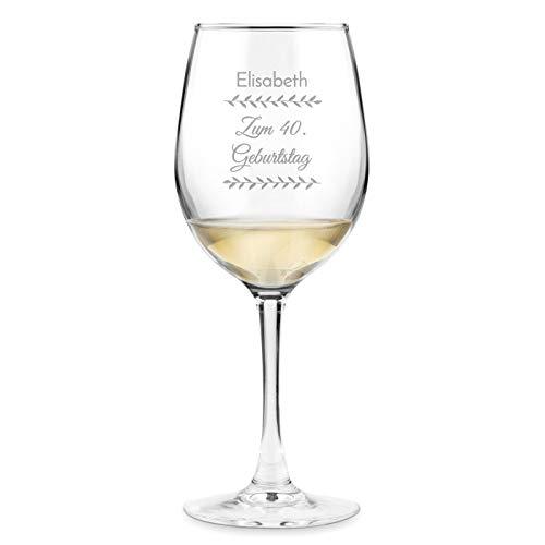 Murrano Weinglas mit Gravur 350 ml - personalisiert - Wein Glas für Rotwein Weißwein - Geschenk Geburtstag für Frauen Freundin - Blumenmotiv