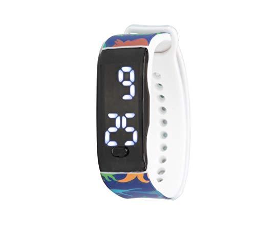KIDDUS Reloj LED Digital para niña o niño. Pulsera de Silicona Suave. Pantalla Rectangular. Batería Japonesa reemplazable. Fácil de Leer y Aprender Las Horas. KI10226 Dino Flat