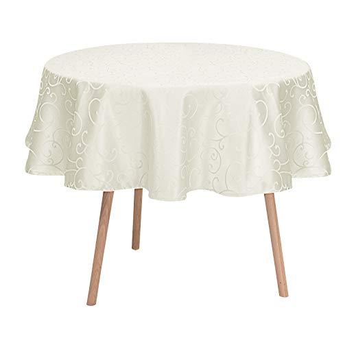 Laneetal Tischdecke Tischtuch Ornamente Damast Seidenglanz Tafeldecke abwaschbar wasserdicht schmutzabweisend Eckig Oval Rund wählbar Creme Rund 160 cm
