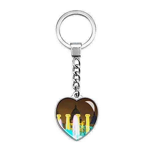 Hqiyaols Keychain Spanien Der magische Brunnen Barcelona Schlüsselkette Kreative Doppelseitige Herz-Kristall-Schlüsselkette Tourist Souvenir Metal