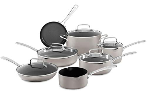 KitchenAid 12-Piece Non-Stick Pour & Strain Aluminum Non Stick Cookware Set Dishwasher Induction Safe