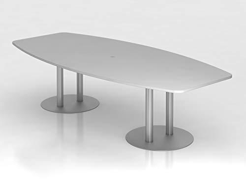 Konferenztisch 280cm Säulenfuß, Grau/Silber