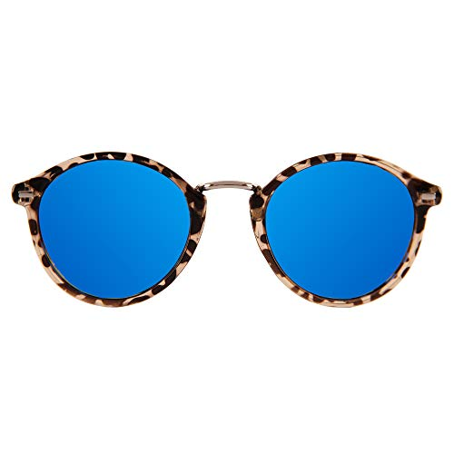 JAZZU - Gafas de Sol Polarizadas Redondas Unisex, Efecto Espejo y Protección UV400 - Hombre y Mujer (Azul)