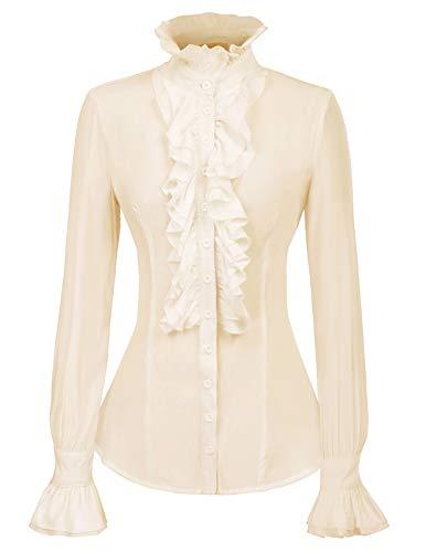 Kate Kasin dames gothic retro victoriaanse stijl lange mouwen steampunk blouse met ruches
