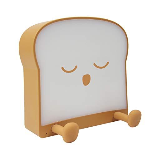 Linda luz de noche de pan tostado brillante, lámpara de guardería de silicona recargable por USB, decoración de dormitorio para niñas adolescentes, decoración para amigos, niños, niños pequeños,B