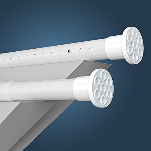 HoFactory Rostfreie Gardinenstange ohne Bohren 310-360cm, Ø32mm Weiß Multifunktionale Vorhangstange Klemmbar - Ausziehbare Teleskopstange Klemmstange - für Trennwand, Vorhang und Balkon