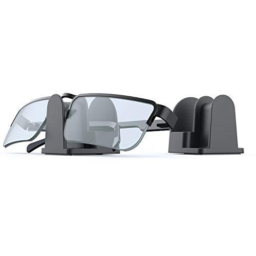 sciuU Titular de Gafas/Gafas de Sol, [Conjunto de 2] Universal Soporte para Pared/Escritorio/Automóvil, Eyewear Organizer, Gancho Adhesivo 3M - Negro