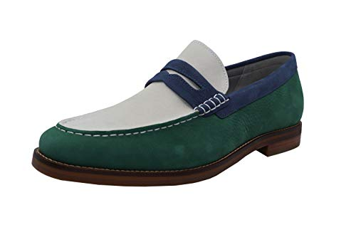 Sperry Herren Gold Cup Exeter Dreifarbiger Penny Loafer, Mehrere (Kelly Green/White/Navy), 44 EU
