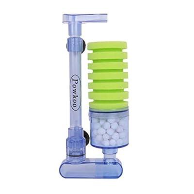 Powkoo Aquarium Air Filter Fish Tank Shrimp Breeding Fry Sponge Filter with Media (Grass Green)