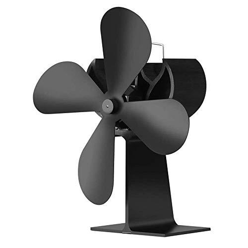 ZHTY 4-flügeliger Ofenlüfter Kleine Höhe Eloxiertes Aluminium-Rundrohr Verdickter Prallschutz Motorkonstruktion, Wärmebetriebener Lüfter für Holzofen
